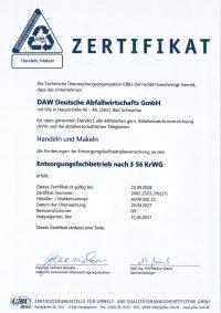 Zertifikate Daw Deutsche Abfallwirtschafts Gmbh